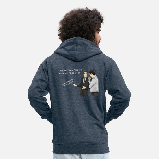 Meme Hoodies & Sweatshirts - Car salesman / meme - Men's Premium Zip Hoodie heather denim