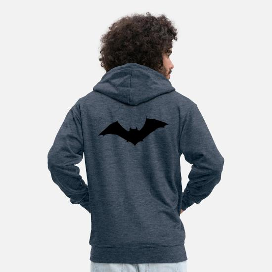 Halloween Hoodies & Sweatshirts - Bat - Men's Premium Zip Hoodie heather denim