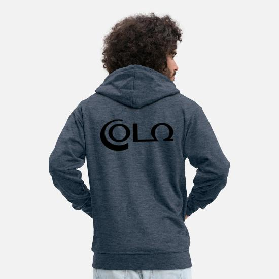 Typography Hoodies & Sweatshirts - Cola - vector graphic - Men's Premium Zip Hoodie heather denim