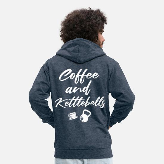 Kettlebell Hoodies & Sweatshirts - Coffee And Kettlebells No. 9 - Men's Premium Zip Hoodie heather denim