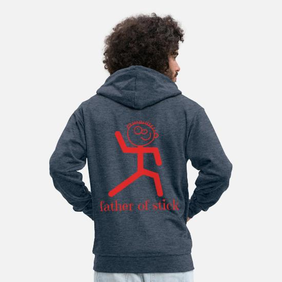 Stick Figure Hoodies & Sweatshirts - STICK FIGURE Father of stick - Men's Premium Zip Hoodie heather denim