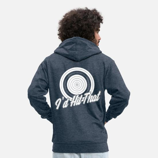 Heat Hoodies & Sweatshirts - I d hit that - Men's Premium Zip Hoodie heather denim