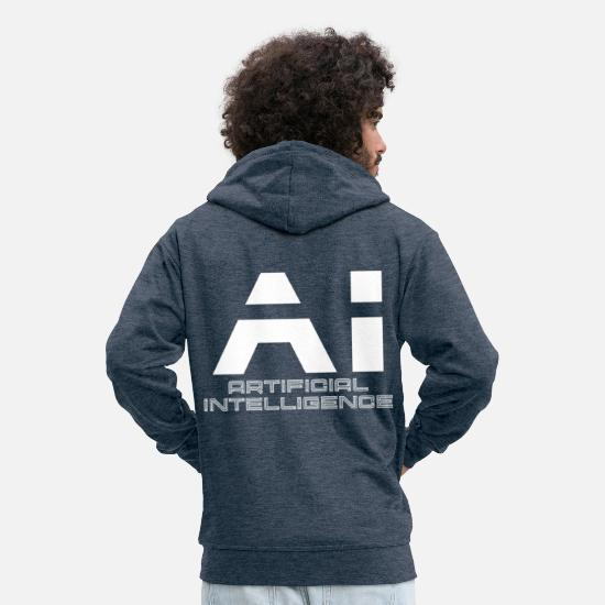 Sciencefiction Sweat-shirts - IA Intelligence artificielle Intelligence artificielle - Veste à capuche premium Homme bleu jeans