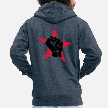 Red Star red star with fist - Men's Premium Zip Hoodie