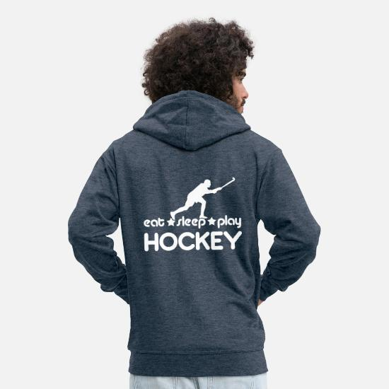 Field Hoodies & Sweatshirts - Eat Sleep Play Hockey - Men's Premium Zip Hoodie heather denim
