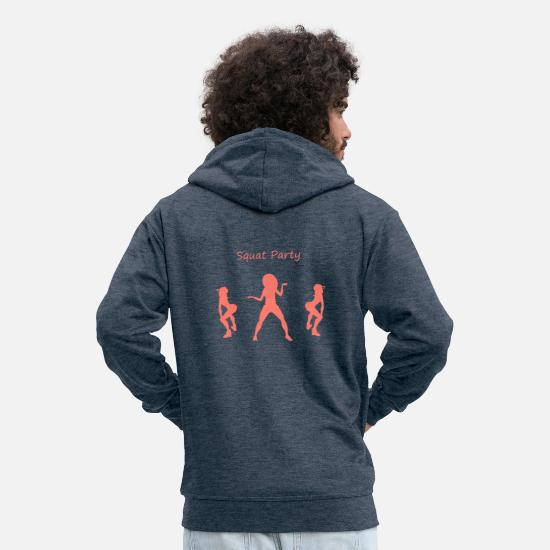 Squat Hoodies & Sweatshirts - Squat party coral - Men's Premium Zip Hoodie heather denim