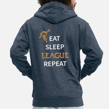 Lol Äta, sova, League, Repeat - Premium zip hoodie herr