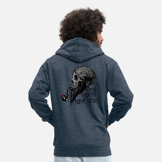 Skull Hoodies & Sweatshirts - real hipster death head have brain crane skull p - Men's Premium Zip Hoodie heather denim