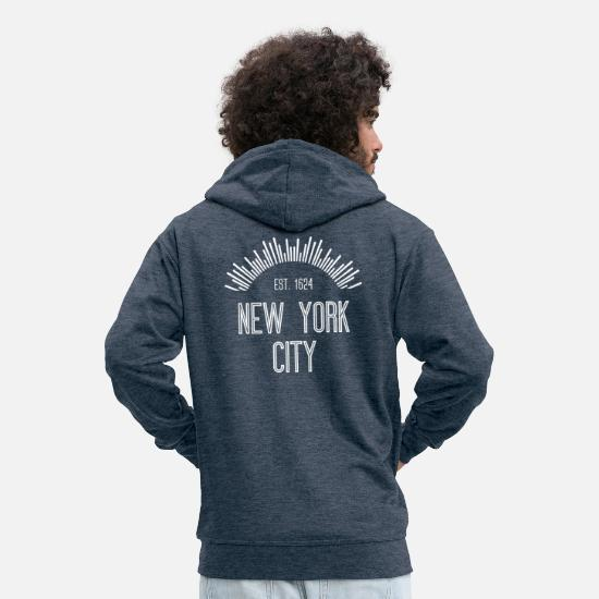 New York Sweat-shirts - New York City est 1624 - Veste à capuche premium Homme bleu jeans