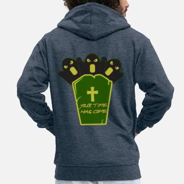 Grave Halloween on a grave - Halloween with a grave - Men's Premium Zip Hoodie