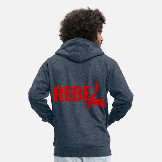 Rebel Hoodies & Sweatshirts - extreme sport rebel - Men's Premium Zip Hoodie heather denim