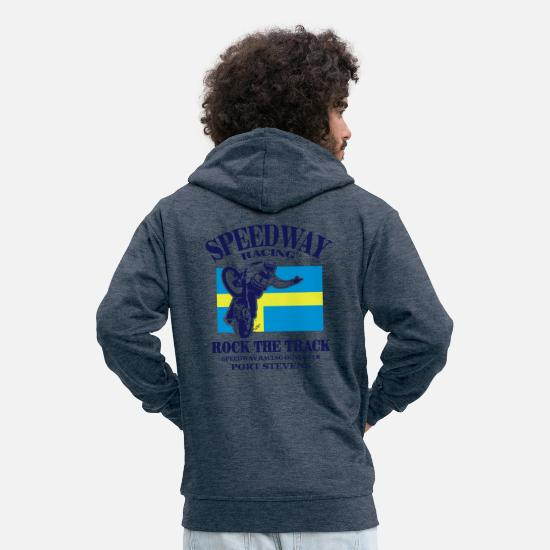 Sweden Hoodies & Sweatshirts - Speedway - Sweden - Men's Premium Zip Hoodie heather denim