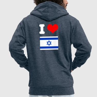 I love Israel motif for friends as a gift idea - Men's Premium Hooded Jacket