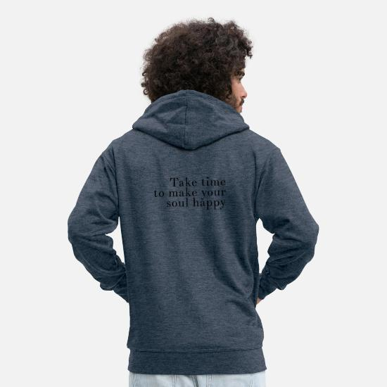 Yoga Hoodies & Sweatshirts - yoga quote - Men's Premium Zip Hoodie heather denim