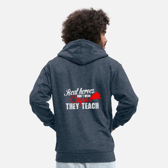 Uni Hoodies & Sweatshirts - teach hero teach - Men's Premium Zip Hoodie heather denim