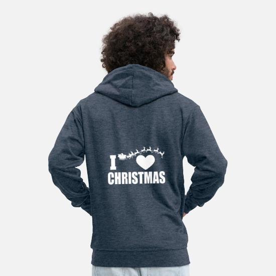 Love Hoodies & Sweatshirts - I heart (Love) Christmas Santa - Men's Premium Zip Hoodie heather denim