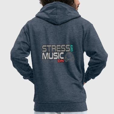 Turn Turn off stress - turn on music - Men's Premium Hooded Jacket