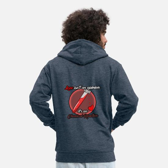 Love Hoodies & Sweatshirts - Love is a chemical reaction - Men's Premium Zip Hoodie heather denim