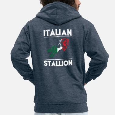 Italian italian stallion horse flag italy - Men's Premium Hooded Jacket