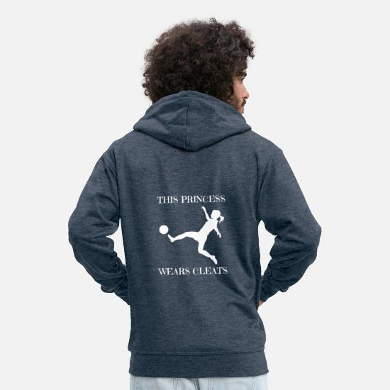 Game Hoodies & Sweatshirts - This Princess wears cleats women's soccer gift - Men's Premium Zip Hoodie heather denim