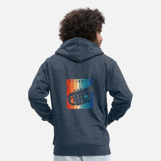 Play Hoodies & Sweatshirts - Baritone horn - Men's Premium Zip Hoodie heather denim