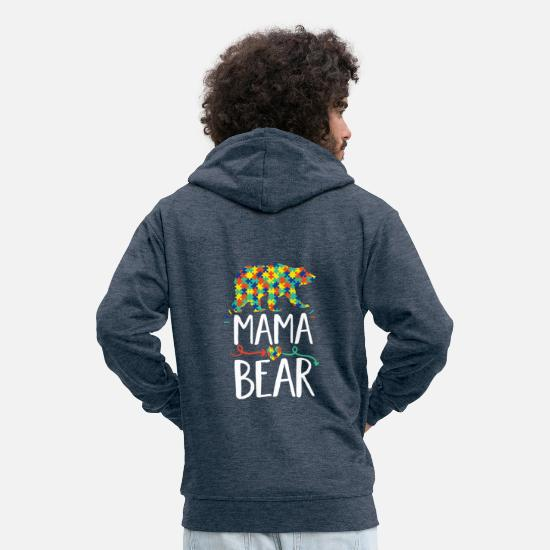 Autism Hoodies & Sweatshirts - Mama Bear design Autism Awareness For Moms - Men's Premium Zip Hoodie heather denim