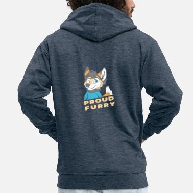 Furry Proud Furry Funny Furry Fandom Fursuit Furries - Men's Premium Zip Hoodie