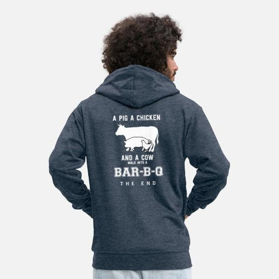 Chicken Hoodies & Sweatshirts - Pig Chicken Chicken Cow BBQ Barbecue Grill - Men's Premium Zip Hoodie heather denim