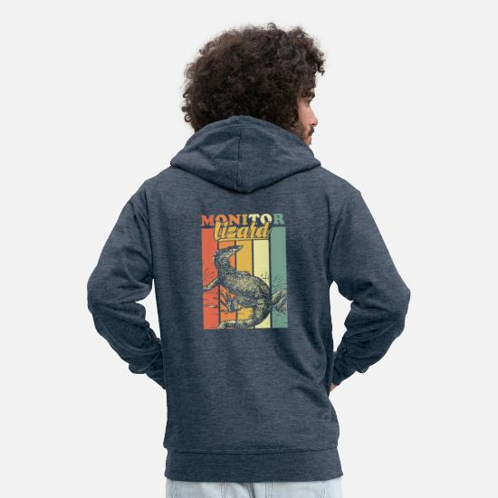 Crocodile Hoodies & Sweatshirts - Monitor lizard - Men's Premium Zip Hoodie heather denim