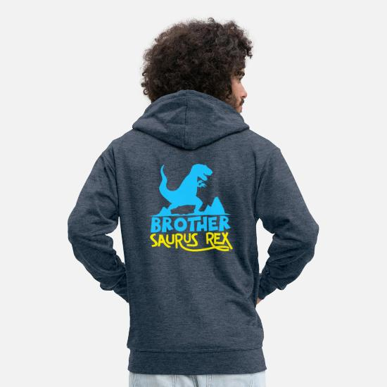 Rex Hoodies & Sweatshirts - Brother Saurus Rex - Funny Dinosaur Graphic - Men's Premium Zip Hoodie heather denim
