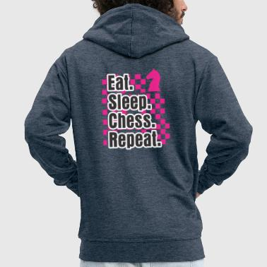 Christianity Funny Chess Design Eat Sleep Play Chess Repeat Gift - Men's Premium Hooded Jacket