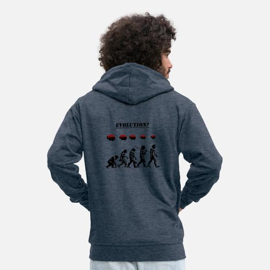 Stencil Hoodies & Sweatshirts - Evolution? - Men's Premium Zip Hoodie heather denim