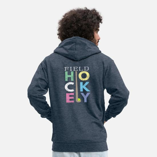 Hockey Hoodies & Sweatshirts - Cute Girls Field Hockey Gift Design LOVE Field - Men's Premium Zip Hoodie heather denim