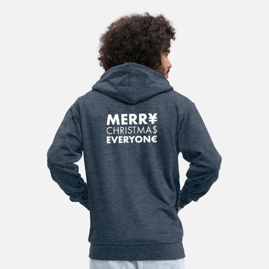 Gift Idea Hoodies & Sweatshirts - Christmas Merry Christmas everyone - Men's Premium Zip Hoodie heather denim