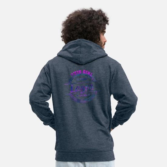 Love Hoodies & Sweatshirts - Lagos Nigeria Africa Africa Gift - Men's Premium Zip Hoodie heather denim