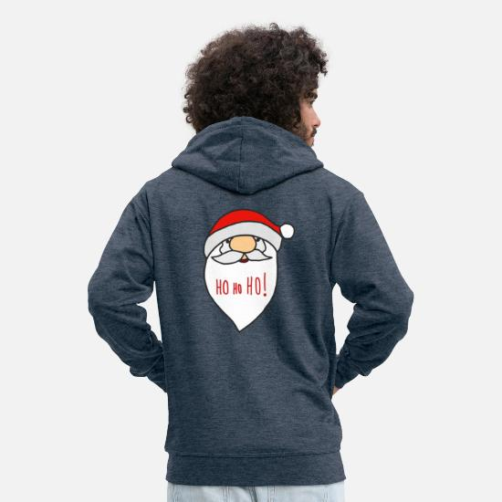 Reindeer Hoodies & Sweatshirts - Ho! Ho! Ho! Santa Claus - Men's Premium Zip Hoodie heather denim