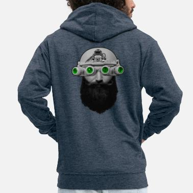 Night Vision Beard & Ninght Vision - Men's Premium Zip Hoodie