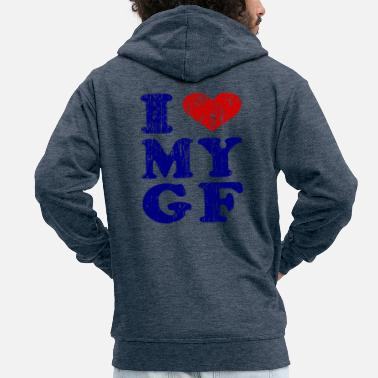 I Love I love my girlfriend friend Valentine's Day - Men's Premium Zip Hoodie