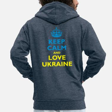 Keep Calm Keep Calm & Love Ukraine - Felpa con zip premium uomo