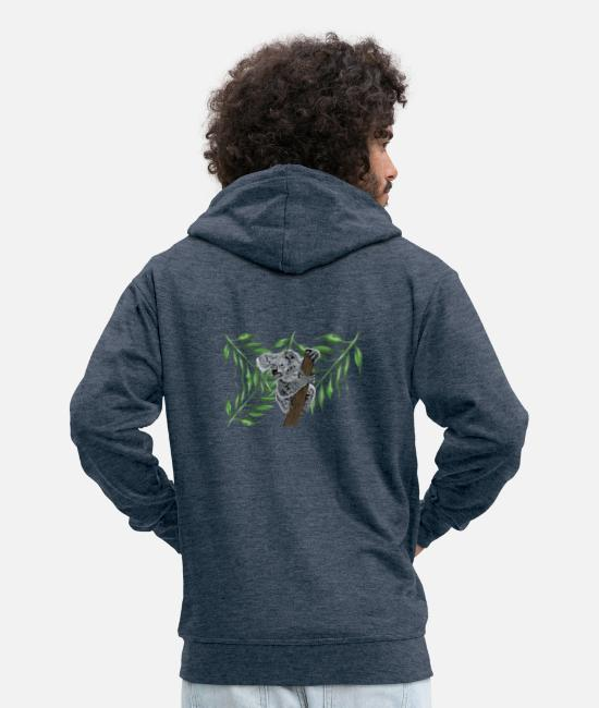 Birthday Hoodies & Sweatshirts - Statement Koala Australia - Men's Premium Zip Hoodie heather denim