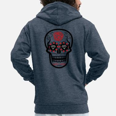 Rose Sugar Skull Diamond Rose Red - Men's Premium Zip Hoodie