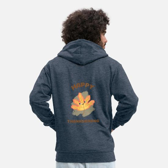 Dinde De Thanksgiving Sweat-shirts - Bonne action de grâce - Happy Leaf - Veste à capuche premium Homme bleu jeans