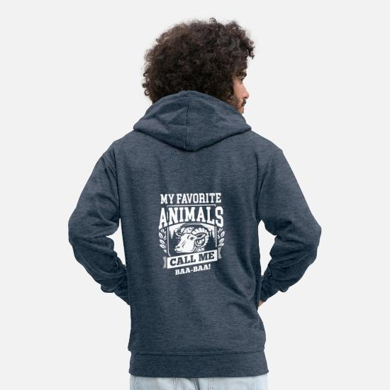 Ferme Sweat-shirts - Sheep Sheep Animals Gift · Animaux favoris - Veste à capuche premium Homme bleu jeans