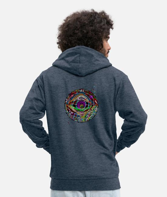 Bright Colours Hoodies & Sweatshirts - LuminousColors - Men's Premium Zip Hoodie heather denim