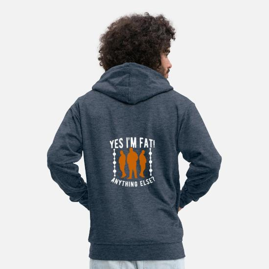 Christmas Present Hoodies & Sweatshirts - Fat man fat - Men's Premium Zip Hoodie heather denim