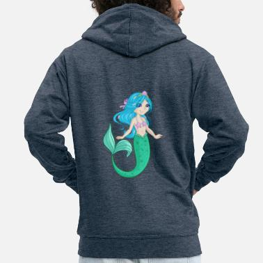 Comic Book Mermaid Nixe Comic Book - Men's Premium Hooded Jacket