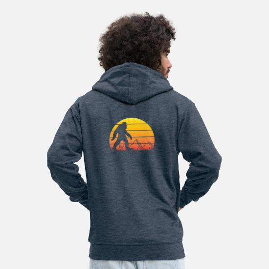Mountains Hoodies & Sweatshirts - APE in the MOUNTAIN - Men's Premium Zip Hoodie heather denim