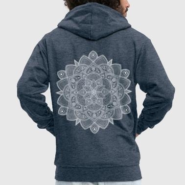 Mandala (White) - Men's Premium Hooded Jacket