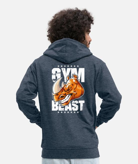 Fighter Hoodies & Sweatshirts - Rhinoceros gym beast - Men's Premium Zip Hoodie heather denim