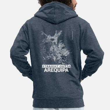 Arequipa Straight Outta Arequipa city map and streets - Men's Premium Zip Hoodie